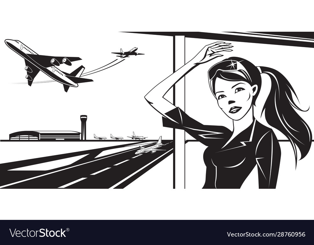 Girl waving to a plane taking off from airport