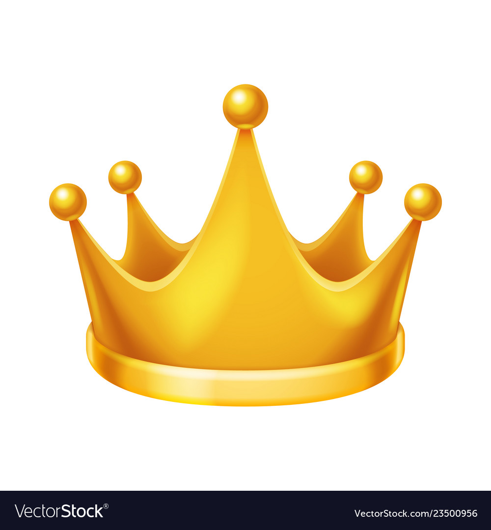 Golden royal crown isolated 3d realistic icon