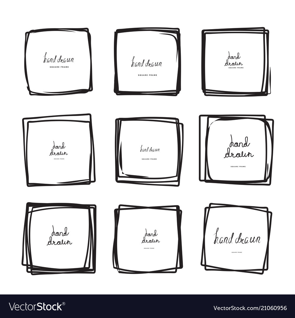 Hand drawn square frames
