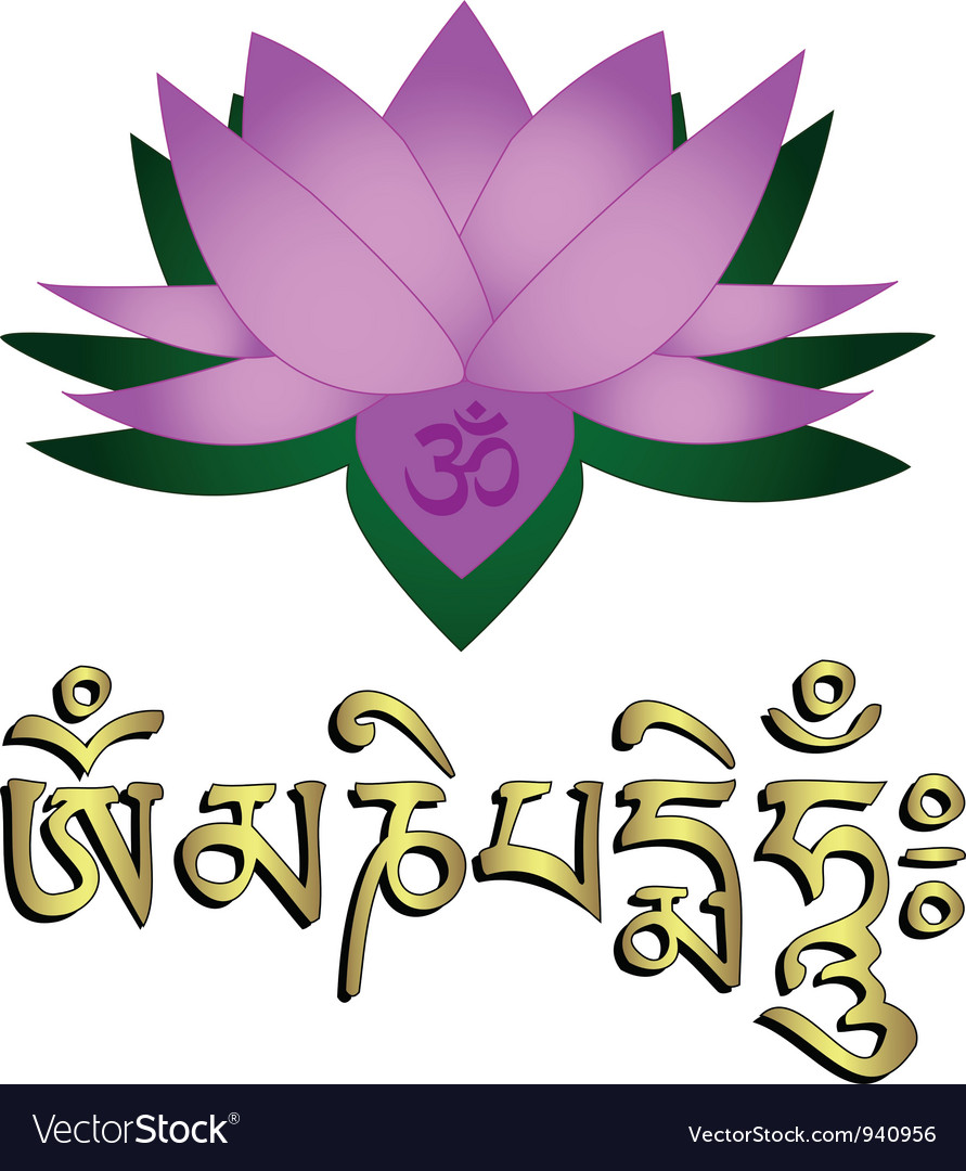 Lotus flower om and mantra