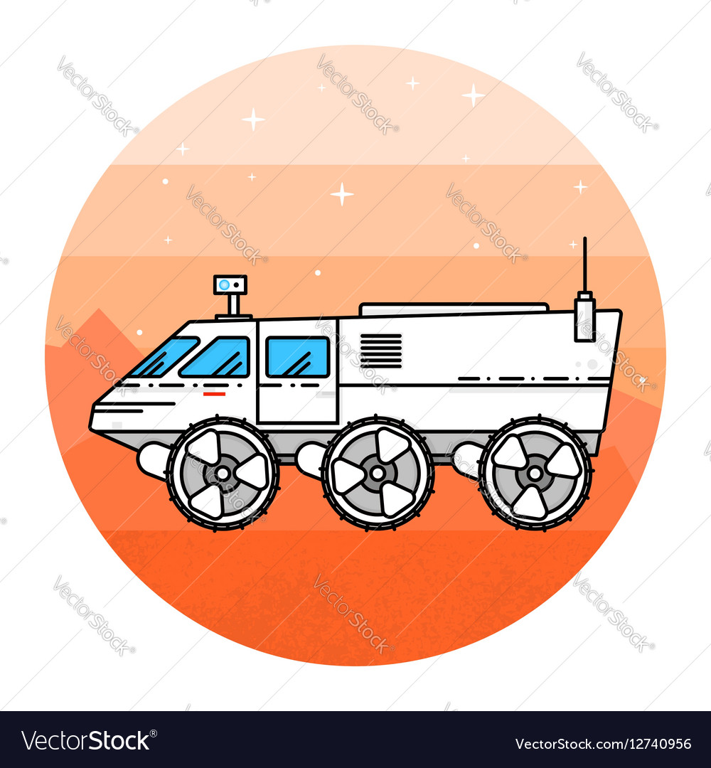 Mars rover on the white background vector image