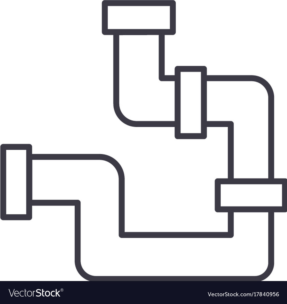 Piping Diagram Vector Electrical Schematics Schematic Plumbing Pipes Line Icon Sign Royalty Free Image
