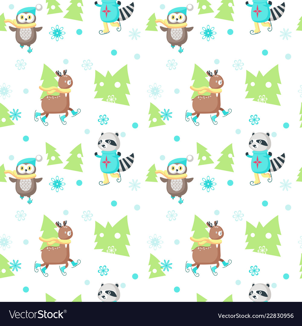 Seamless pattern with cute ice skating