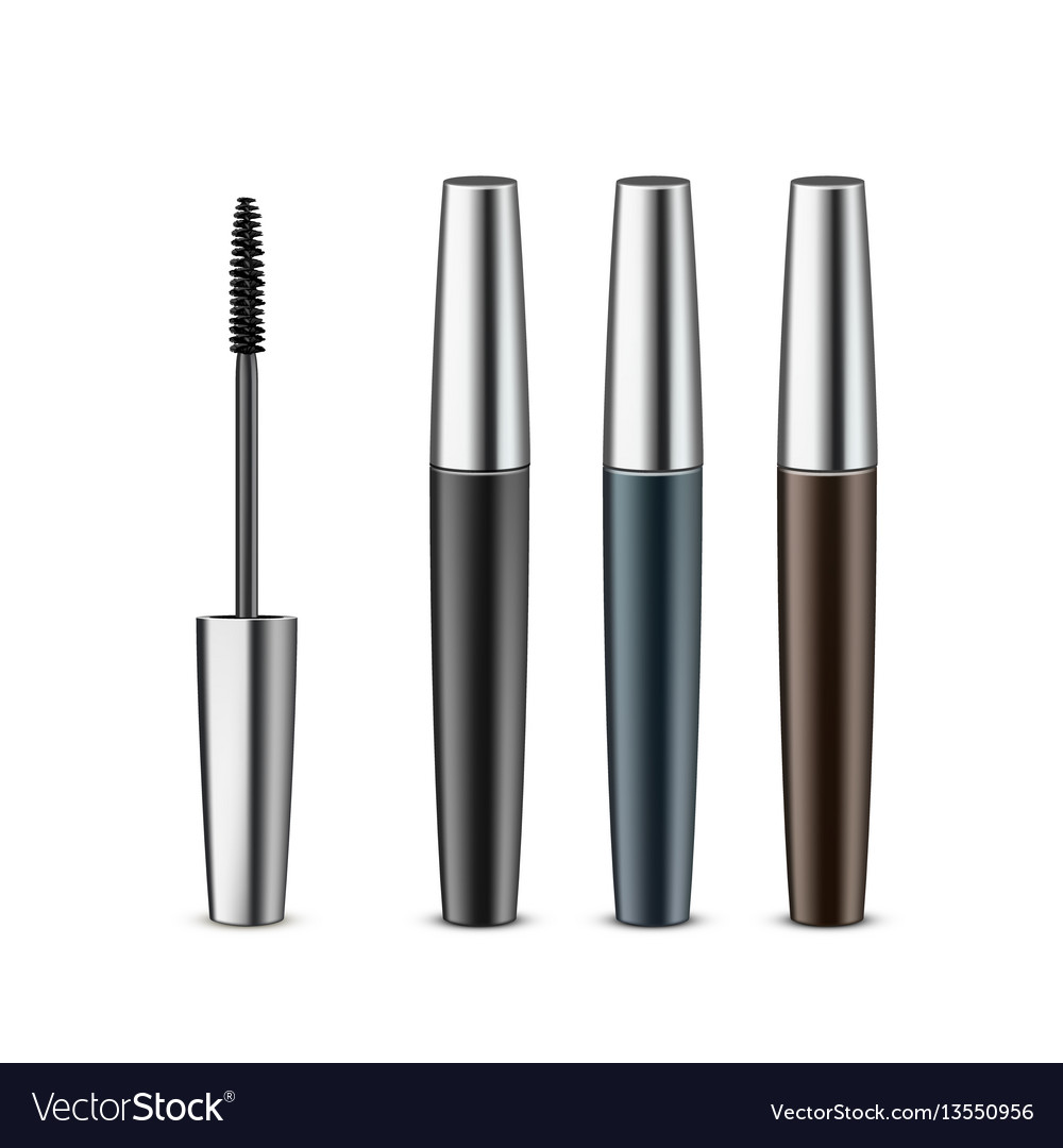 cb3407504d5 Set of opened closed black mascara in tube Vector Image
