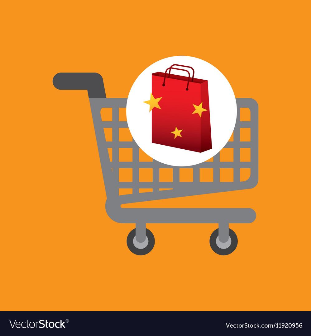 Shop cart red bag gift star design vector image