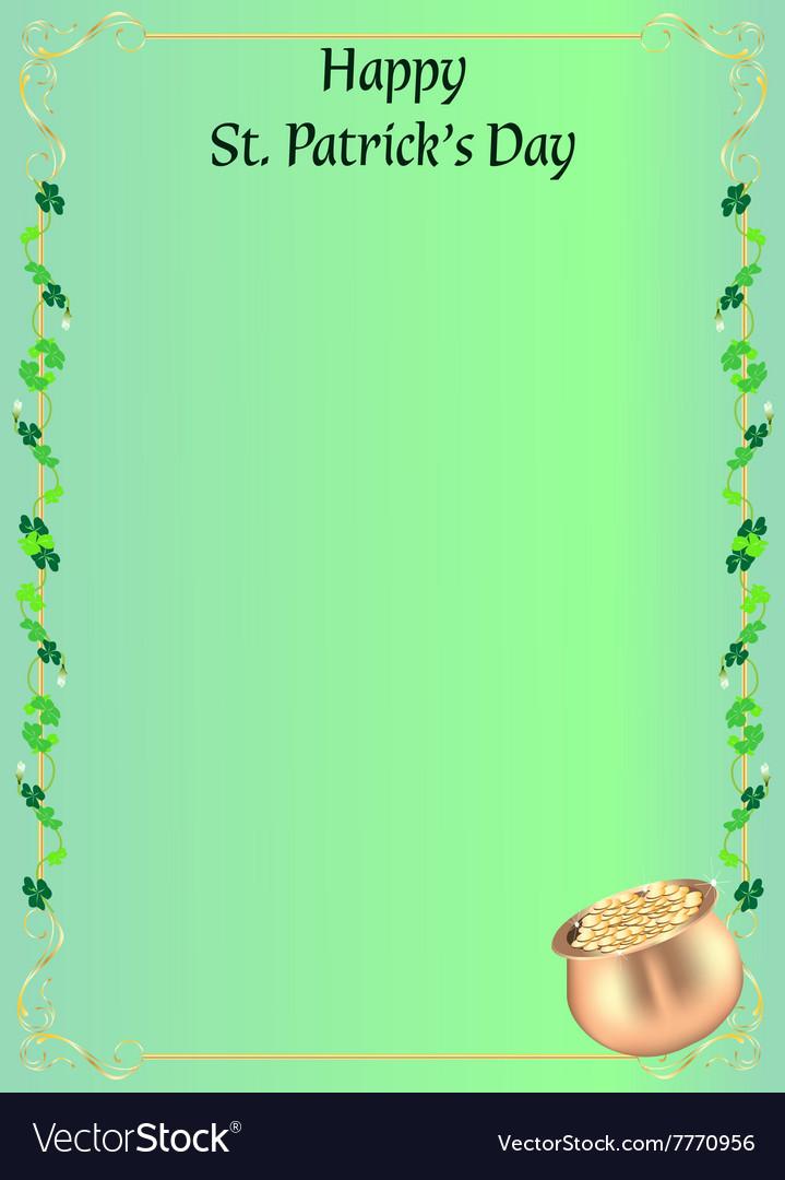 st patrick day invitation or menu royalty free vector image