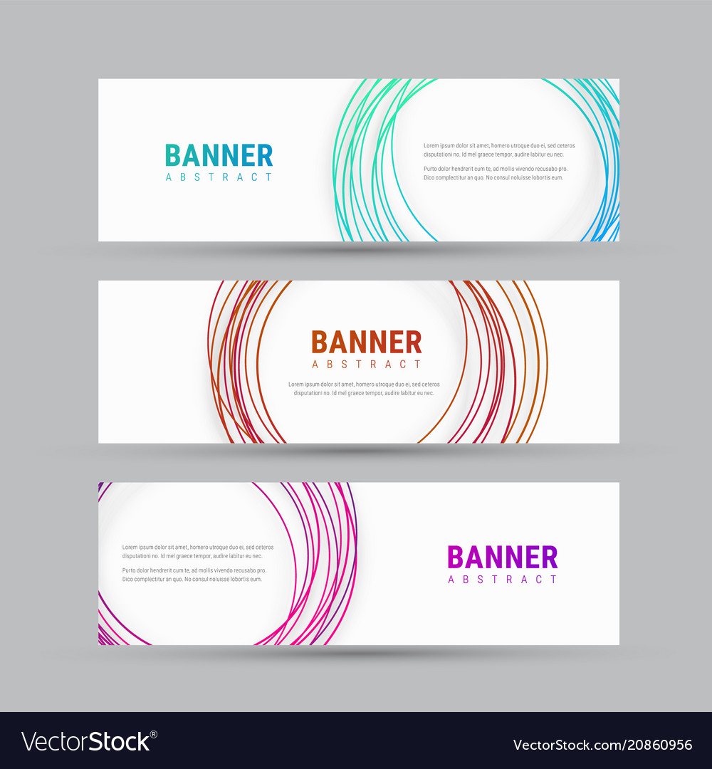 Template of a white banner with abstract circles