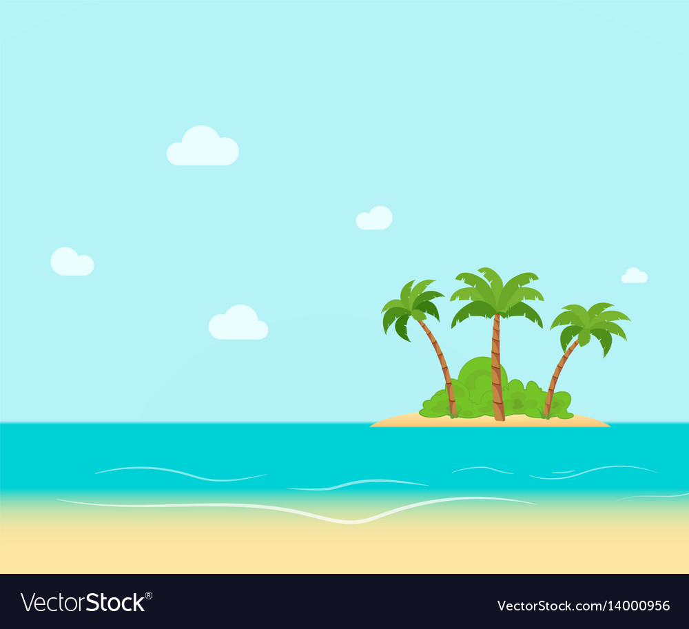 Tropical coast beach with hang palm trees view