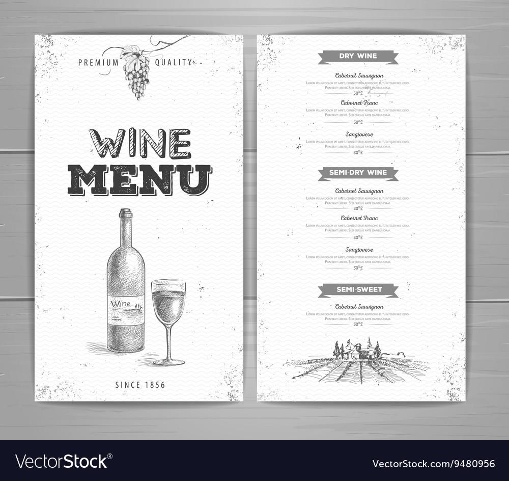 Vintage wine menu design