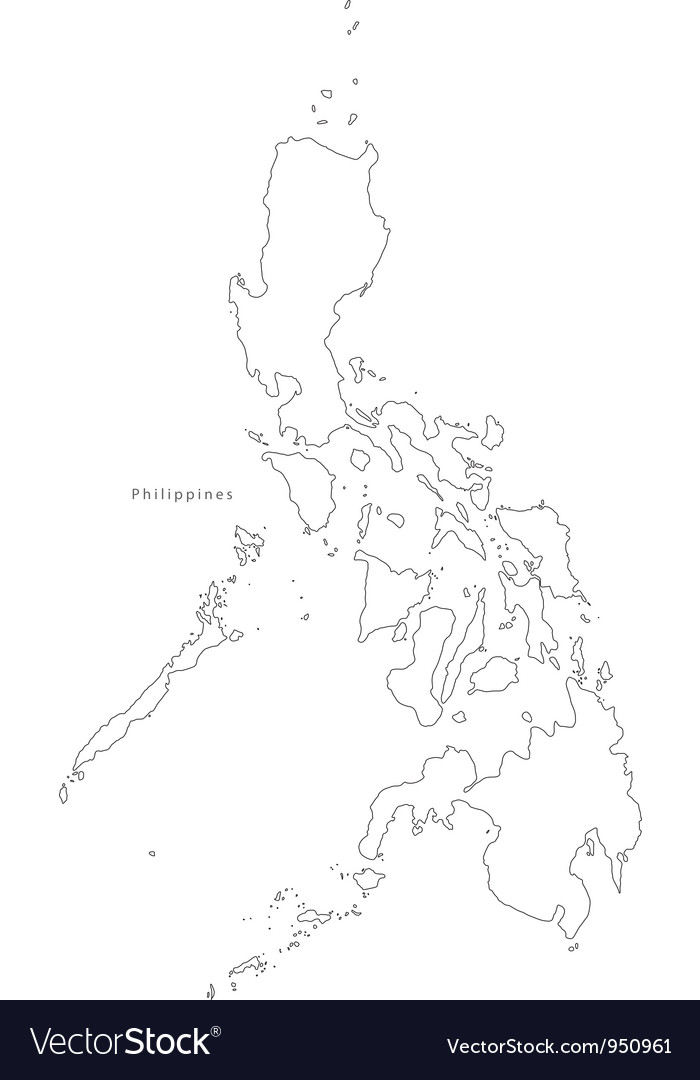 Black White Philippines Outline Map Royalty Free Vector
