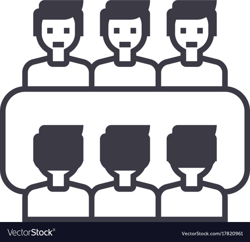 Business team meetingconference line icon vector image