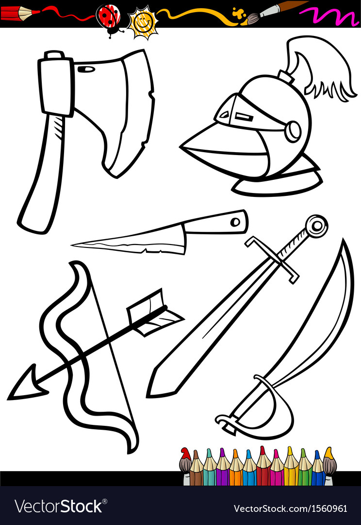 Cartoon Weapons Objects Coloring Page Royalty Free Vector
