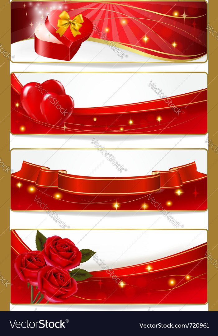 Collection of colorful of valentine banners vector image