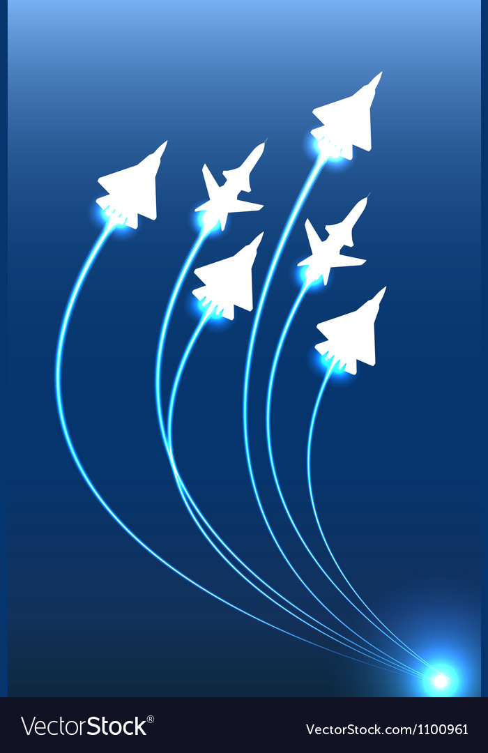 Flying jets group vector image
