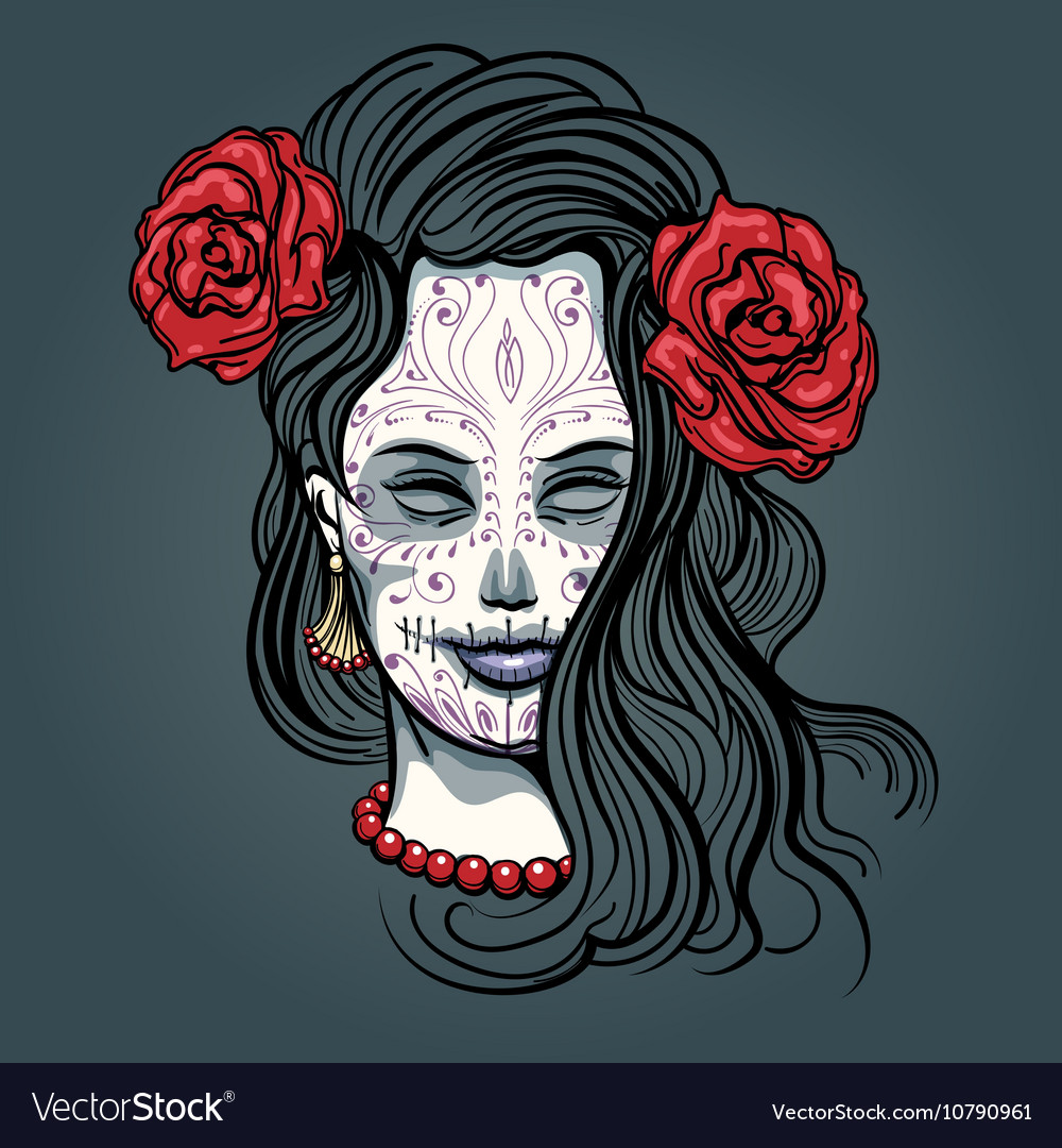 Girl with Sugar Skull Makeup vector image