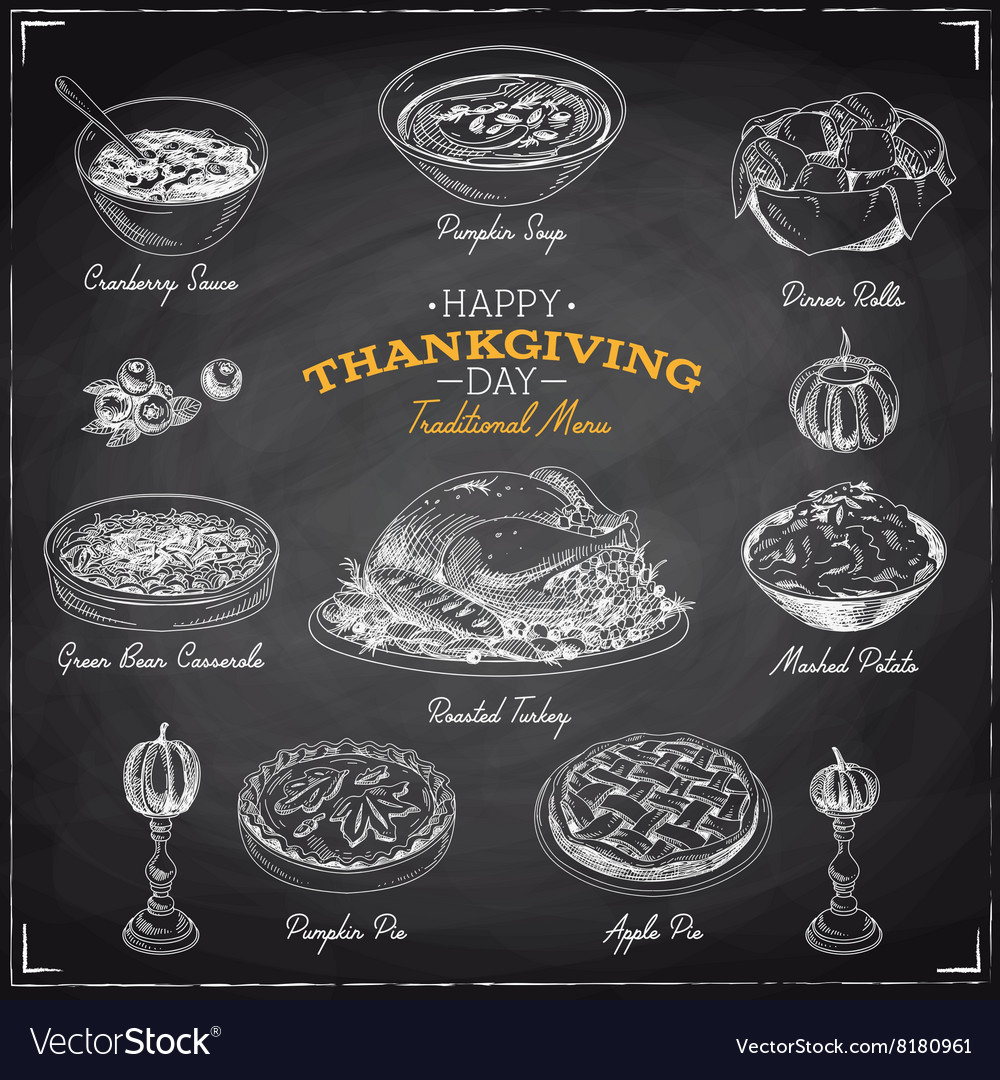 Hand drawn sketch Thanksgiving food set