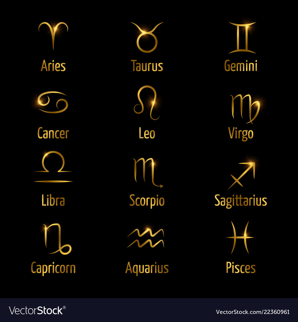 Hand drawn zodiac symbols shine gold effect