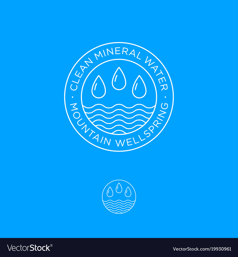 logo clear mineral water drops waves royalty free vector