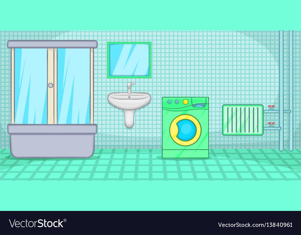 plumber horizontal banner bathroom cartoon style vector image