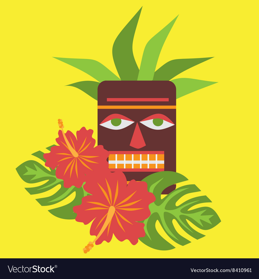 Poster with tropical palm leaves and flowers