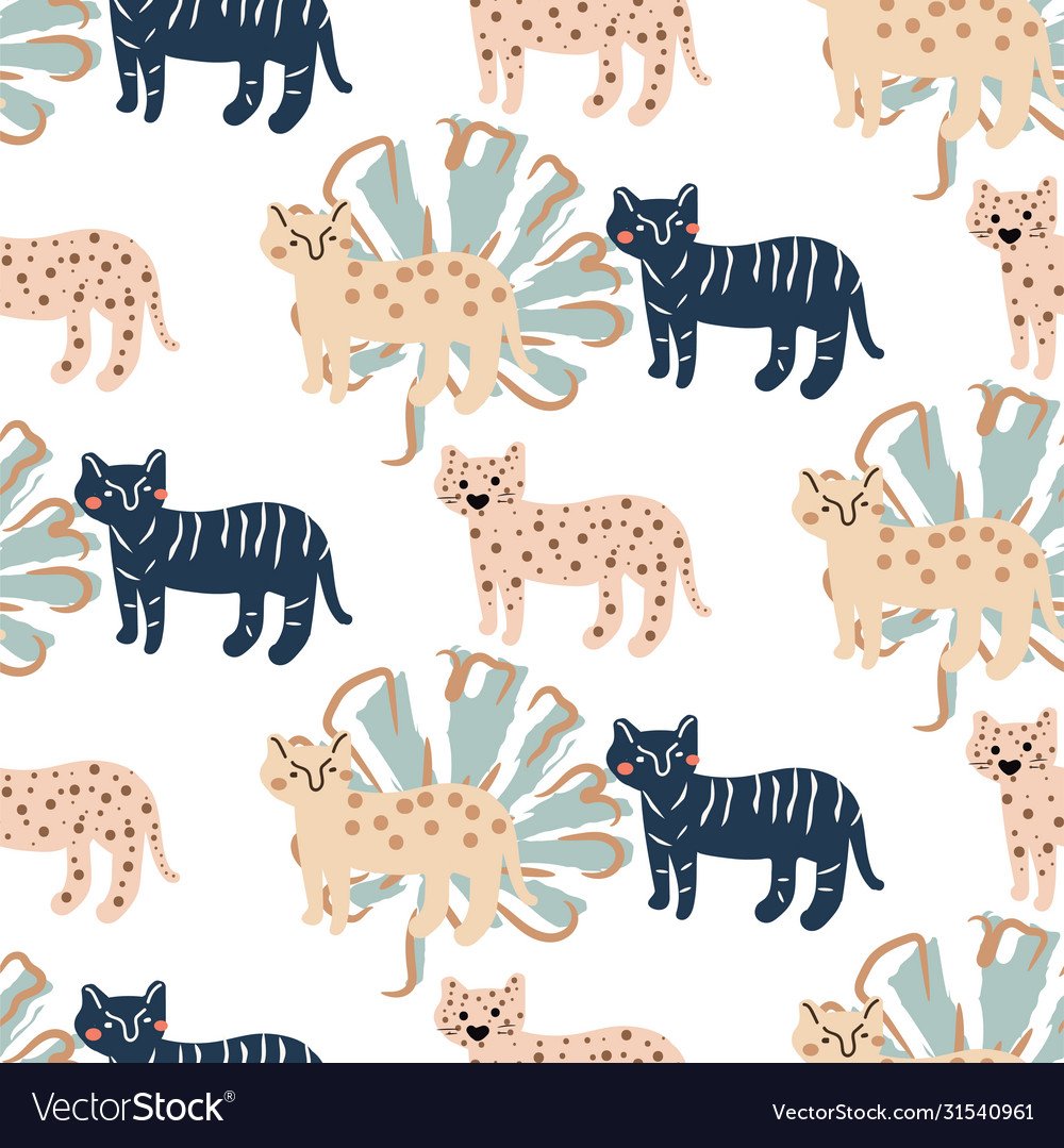 Seamless cute pattern with leopard and palm leafs