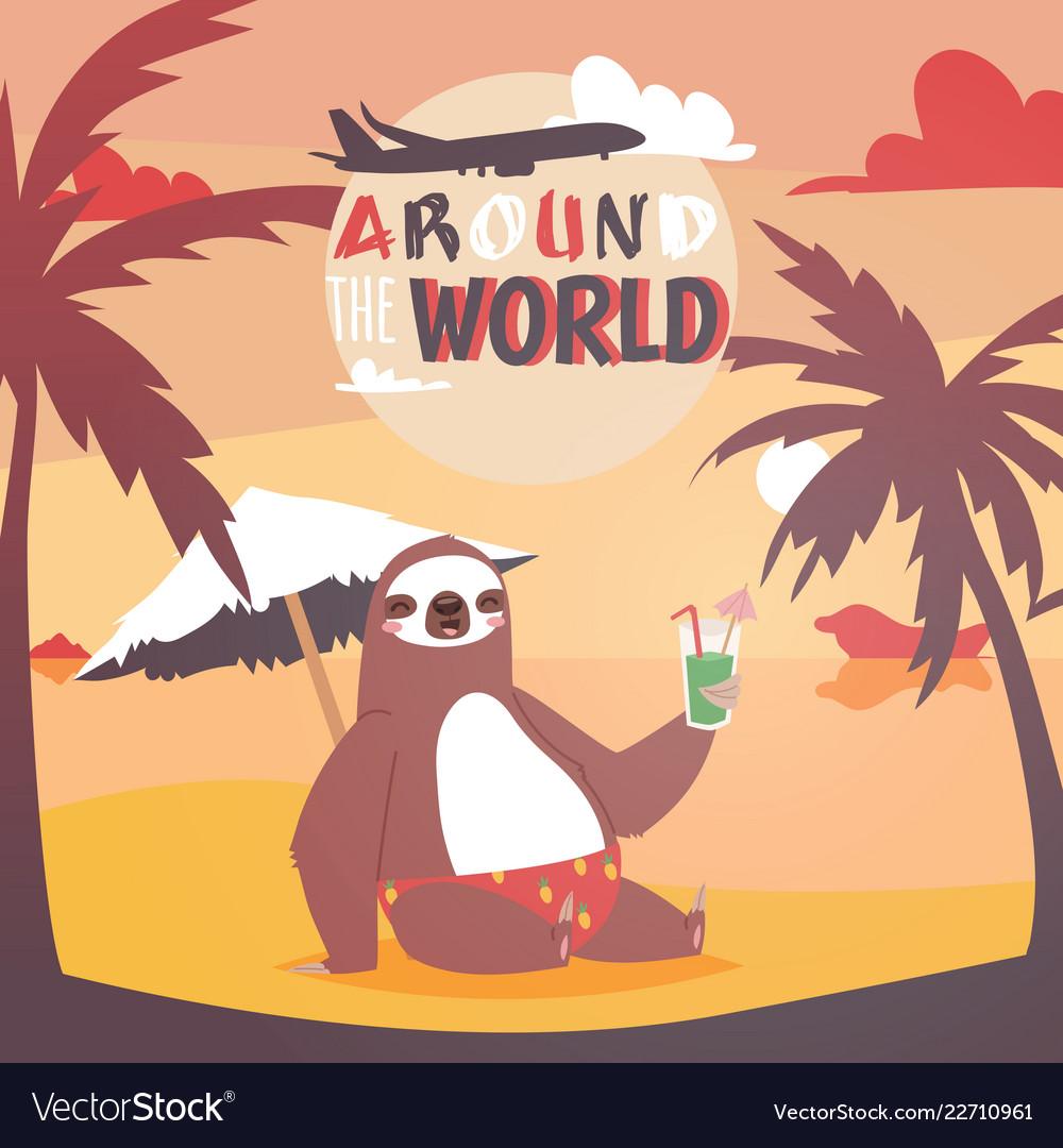 Sloth on vacation background animal who likes