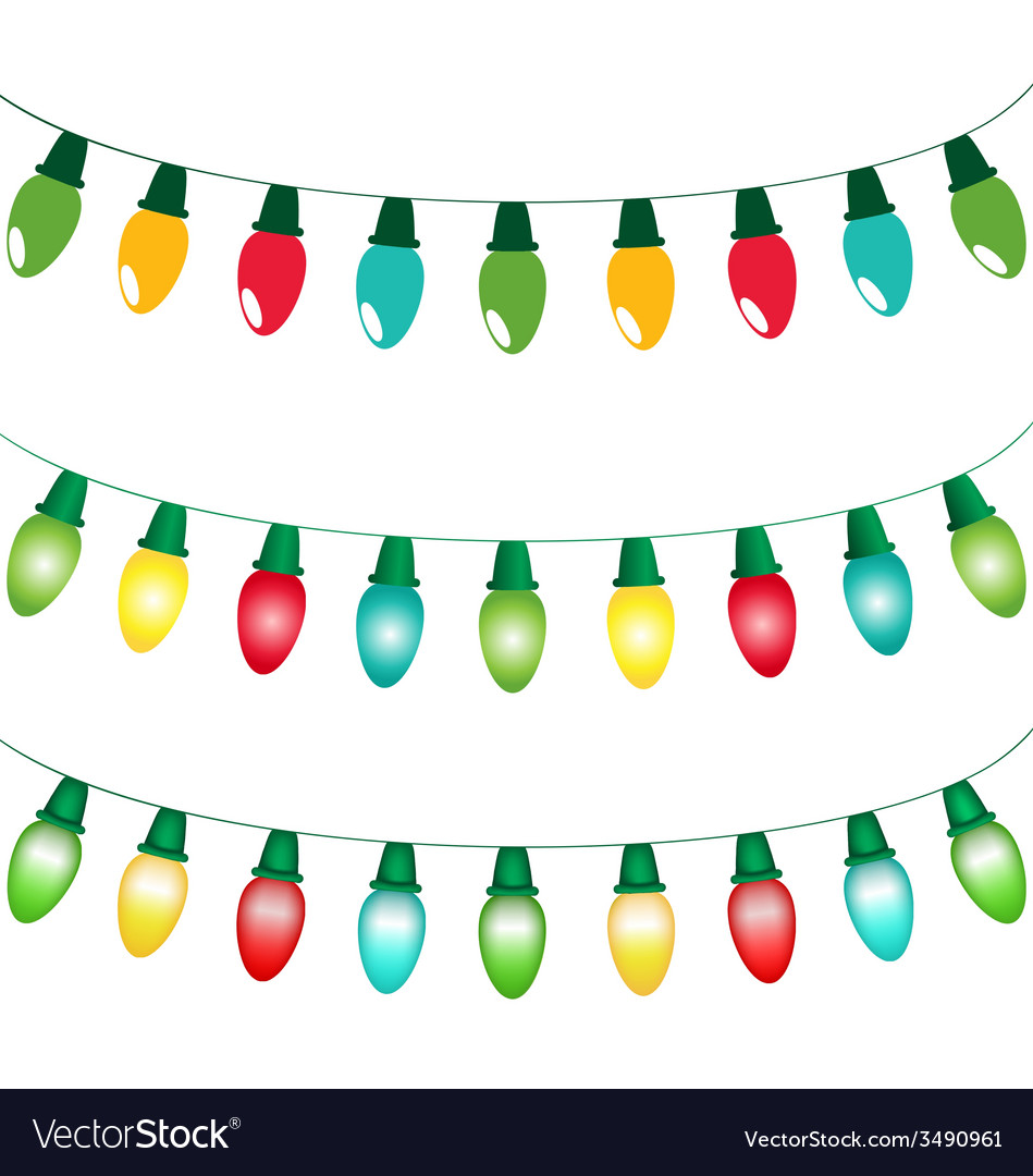 Variations of Christmas lights isolated on white Vector Image