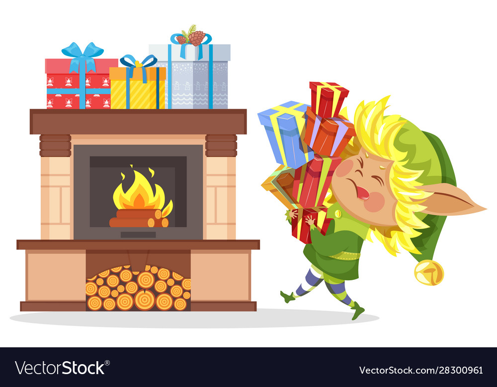 Xmas elf hold boxes with gifts fireplace in room