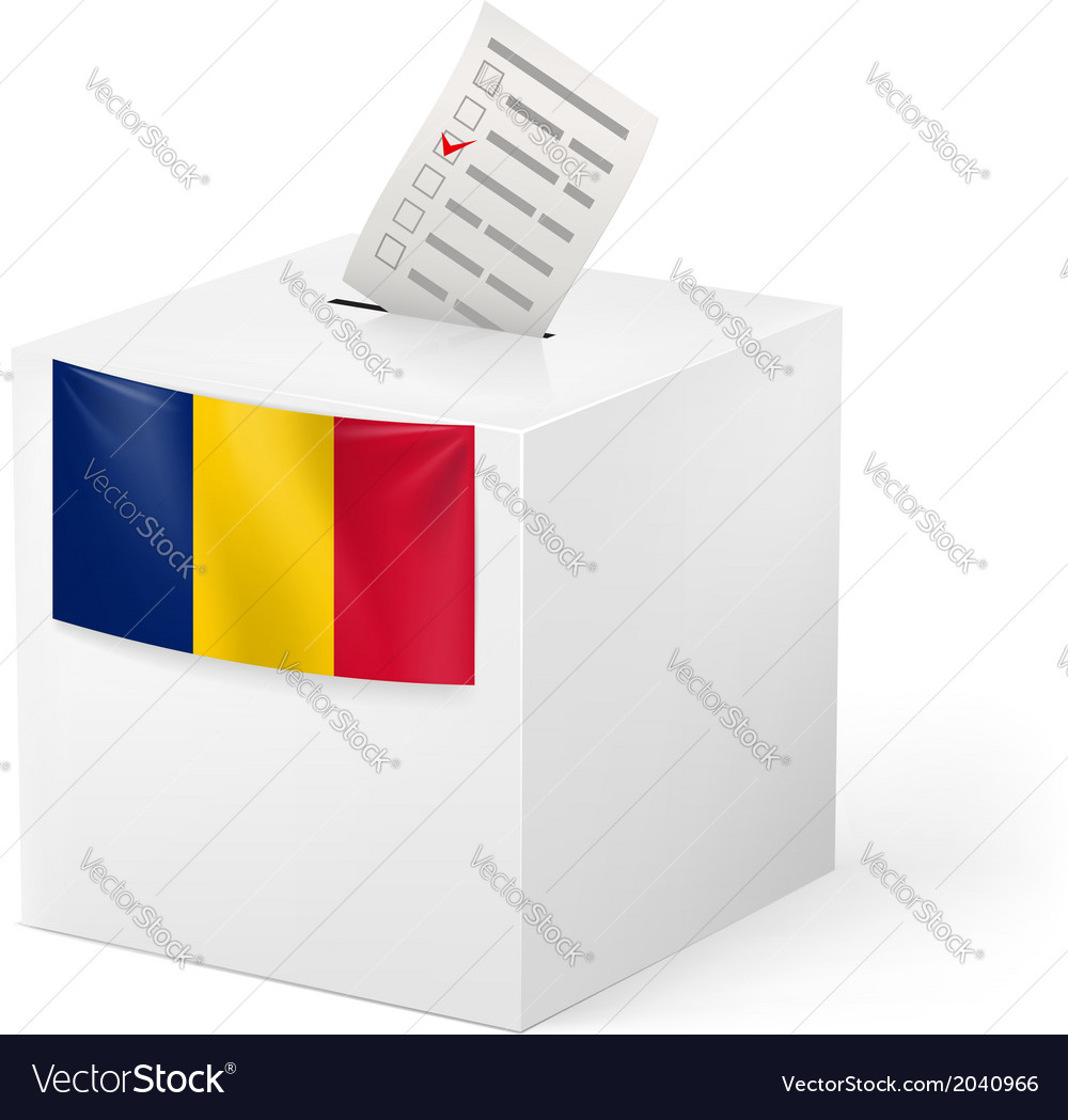 Ballot box with voting paper Romania vector image