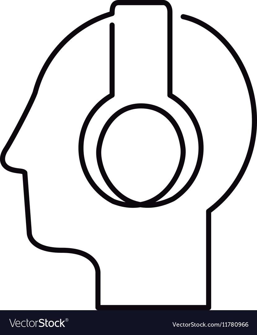 Black silhouette head with headphones