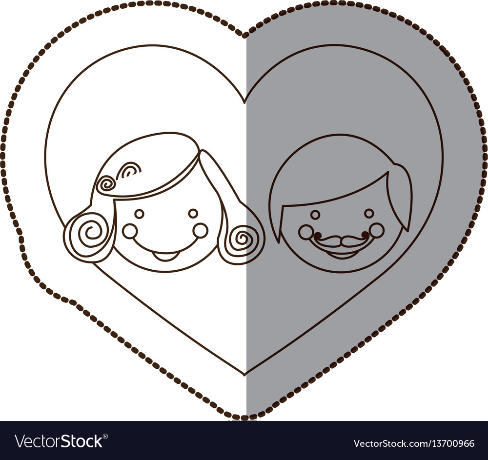 Couple together inside the heart