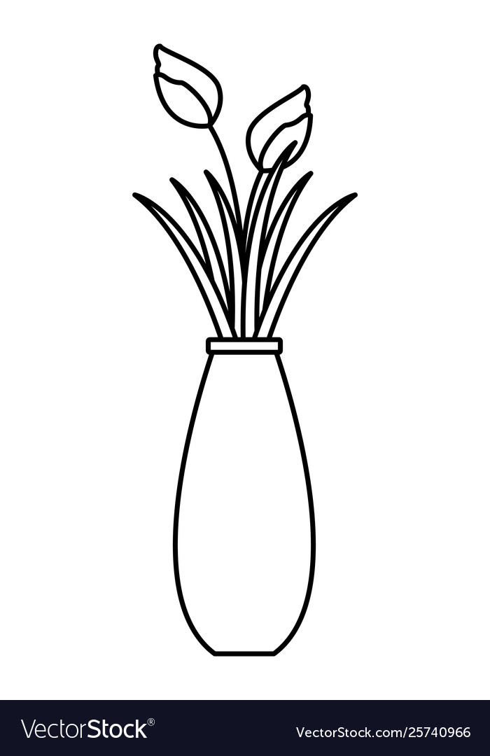 Flower Vase With Rose Icon Black And White Vector Image
