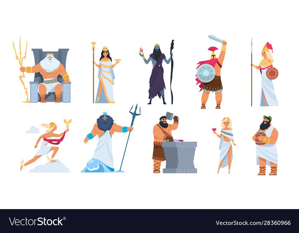 Greek gods cartoon ancient mythology characters