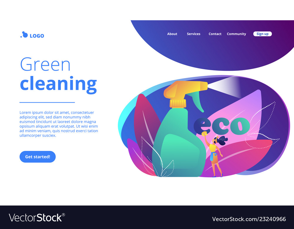 Green cleaning concept landing page