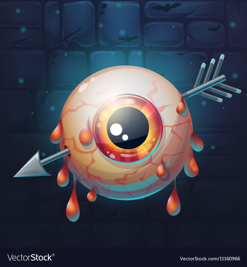 Horrible bloody arrow pierced eyeball