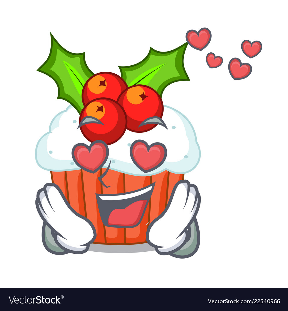 In love decorated christmas cupcakes cartoon for