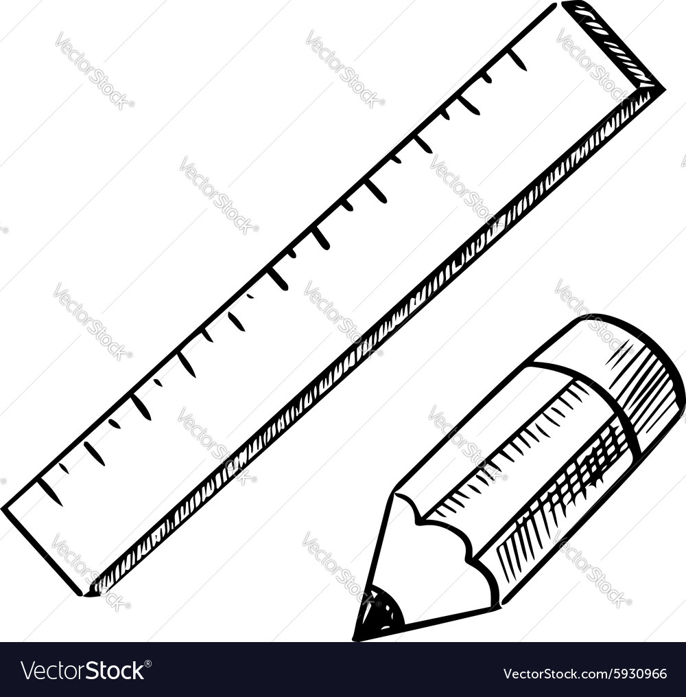 Pencil and ruler sketch icons vector image