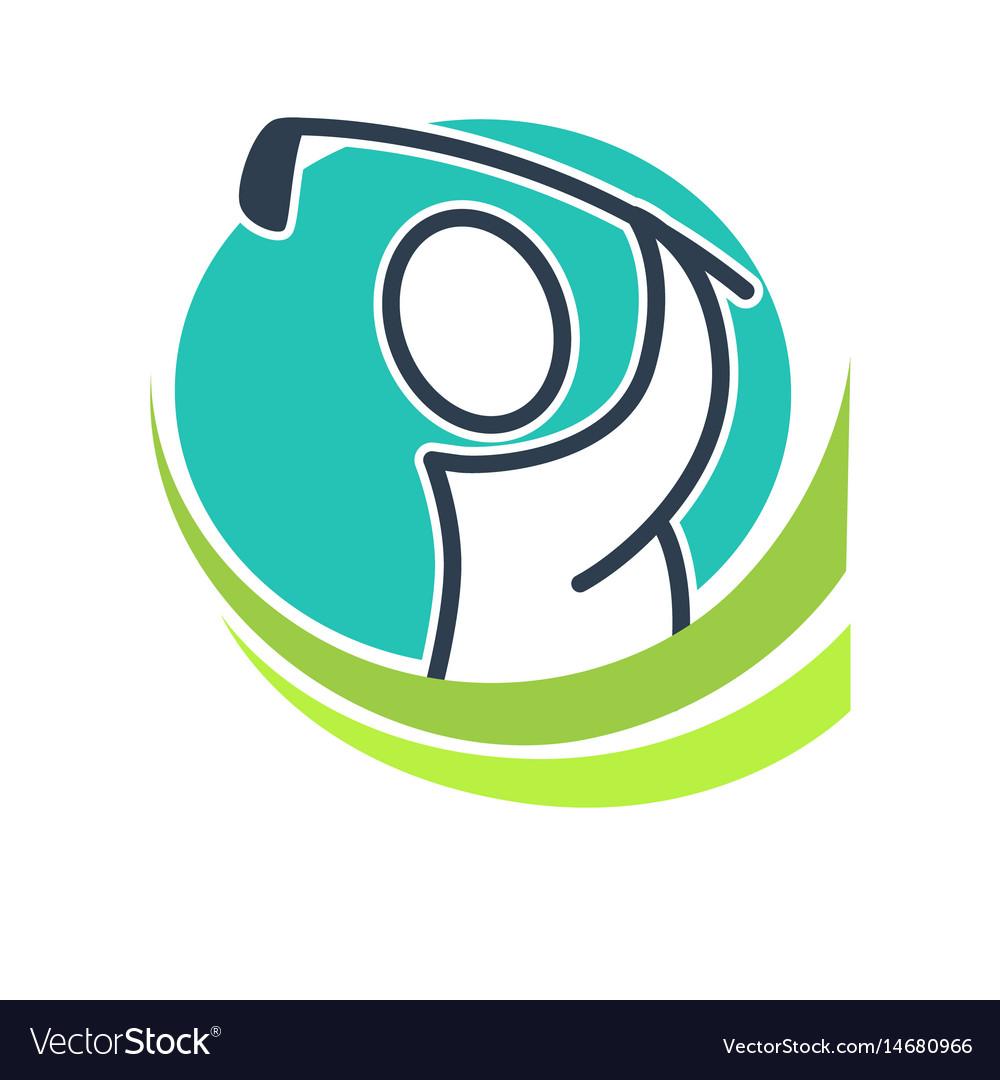 Professional golf club emblem with cartoon player
