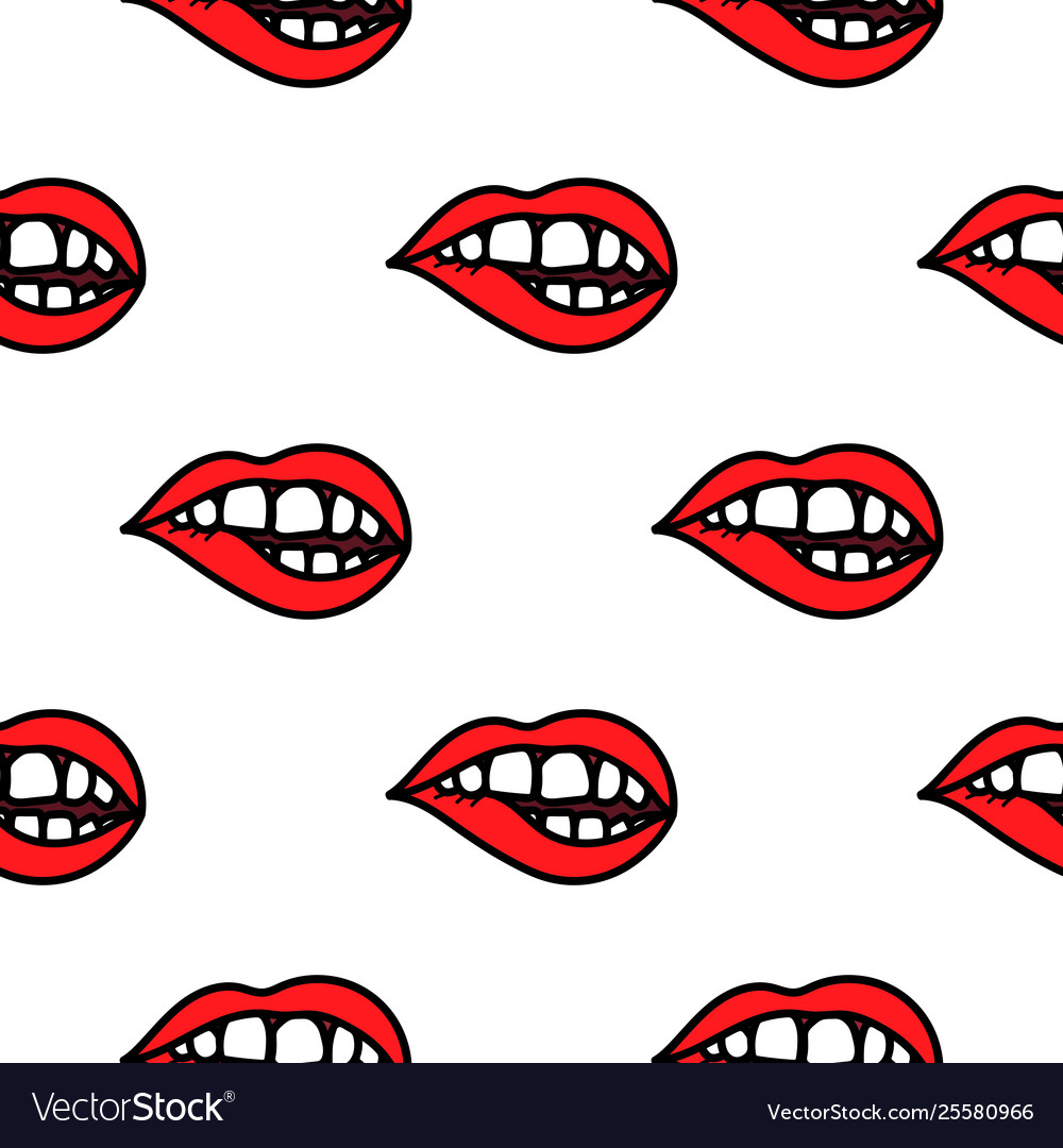 Red lips biting doodle seamless pattern background