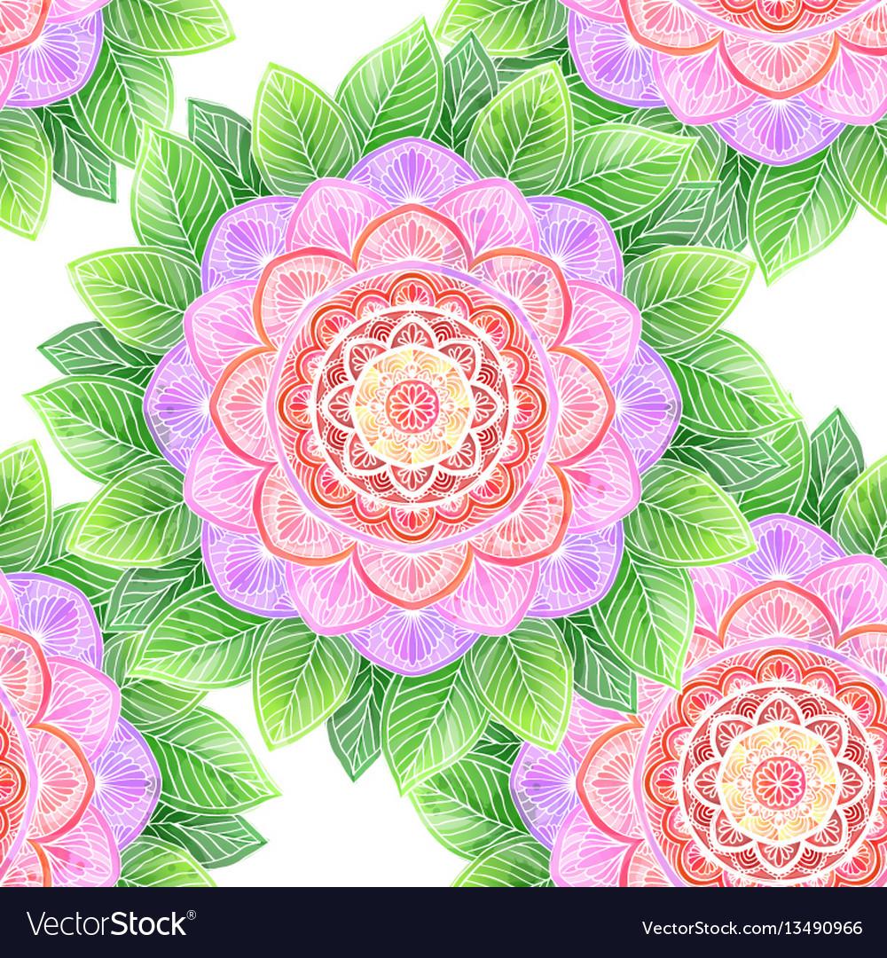 Seamless watercolor flower abstract mandala