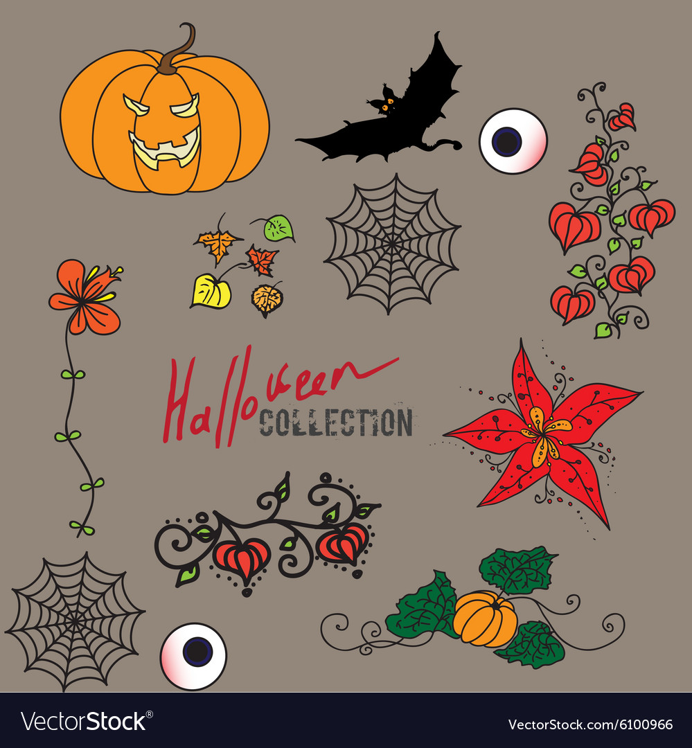 Set of fairy colored halloween icons vector image