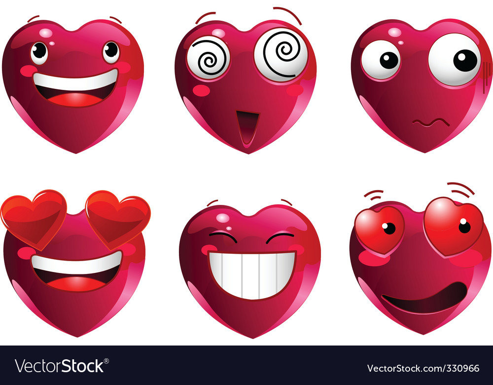 Set of heart shape emoticons vector image