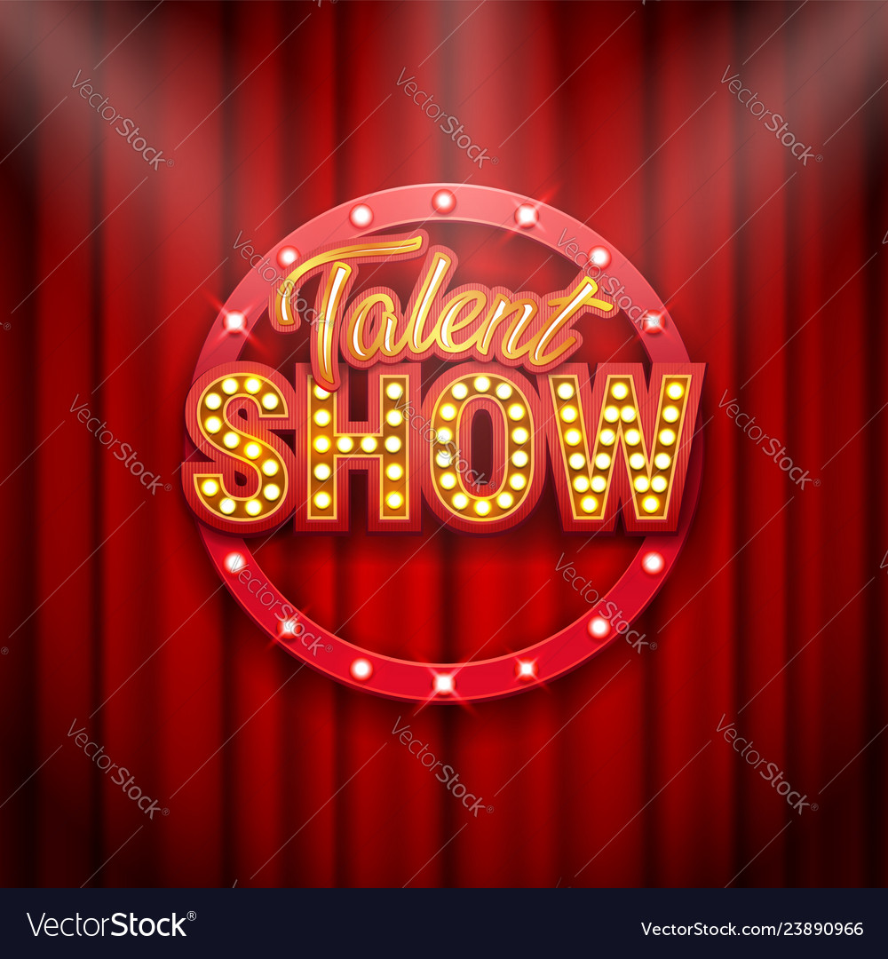 talent show banner poster gold inscription on vector image