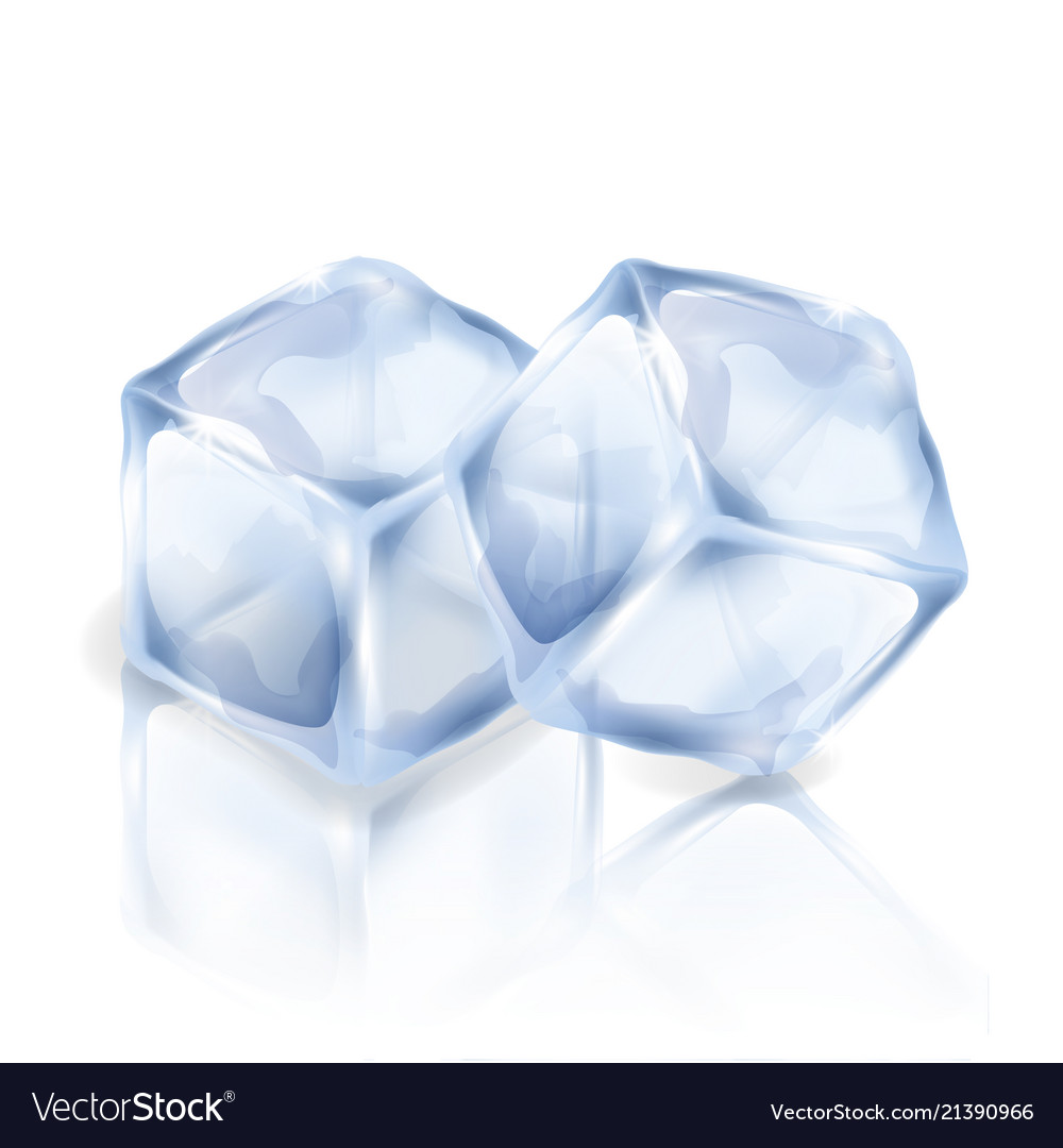 Two Ice Cubes Isolated On The White Background Vector Image