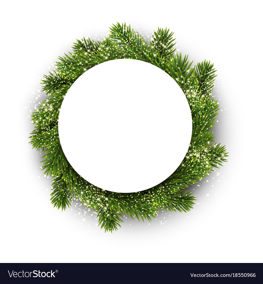 White round background with christmas wreath Vector Image