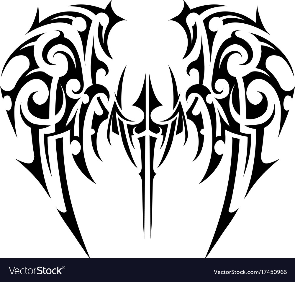 0bd2853a41292 Wings tattoo tribal art Royalty Free Vector Image