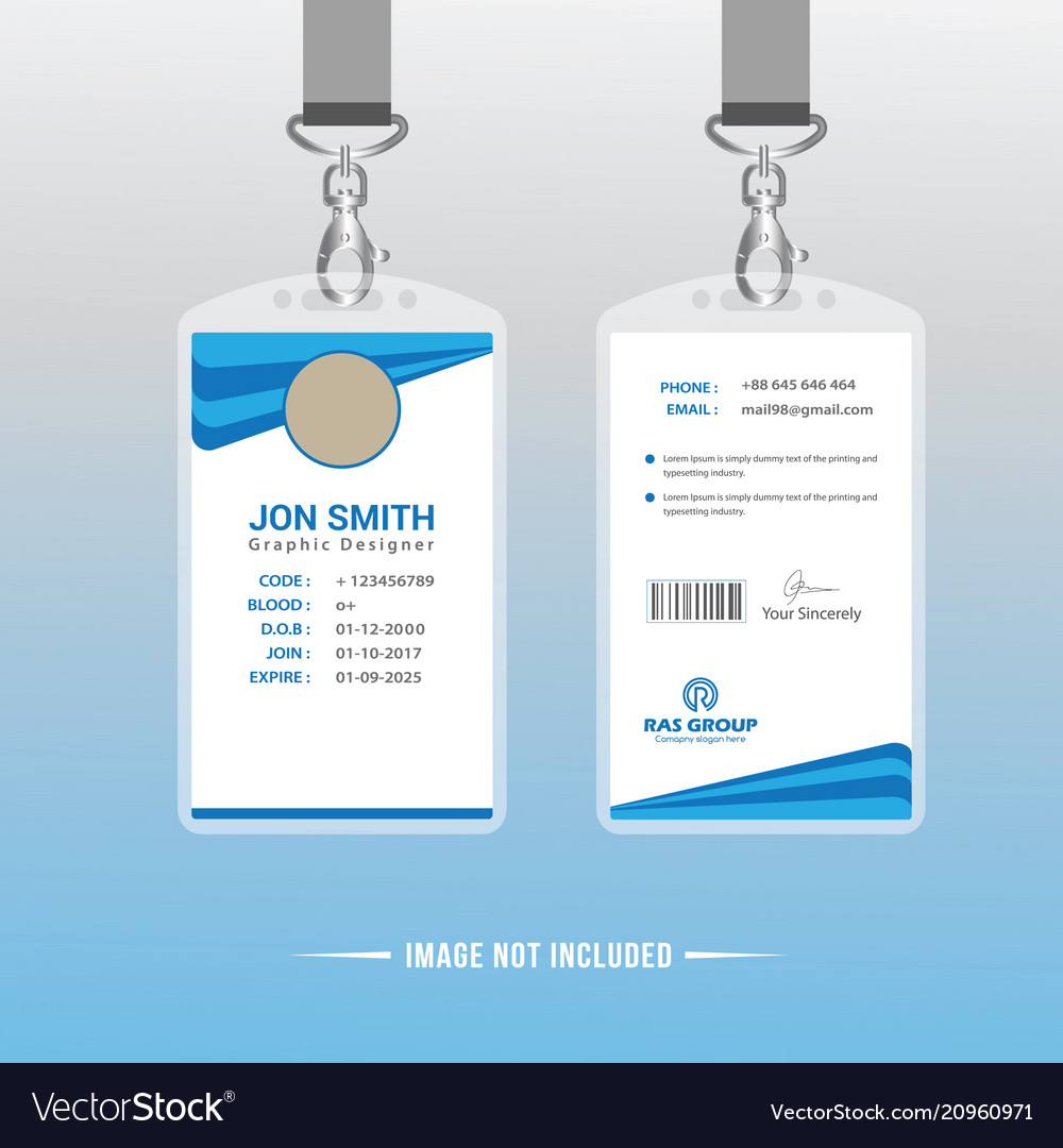 Card Design Id Abstract Identification Or Image Vector