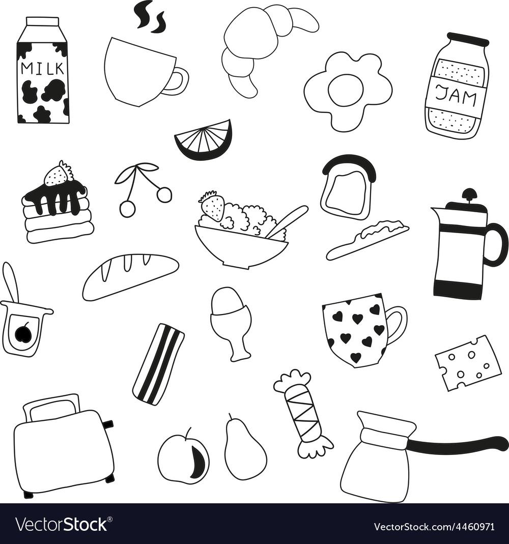 Assortment of doodle food for breakfast