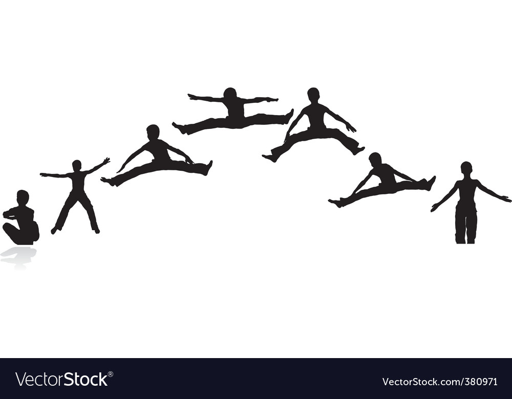 Boy Jumping Silhouettes Vector Image