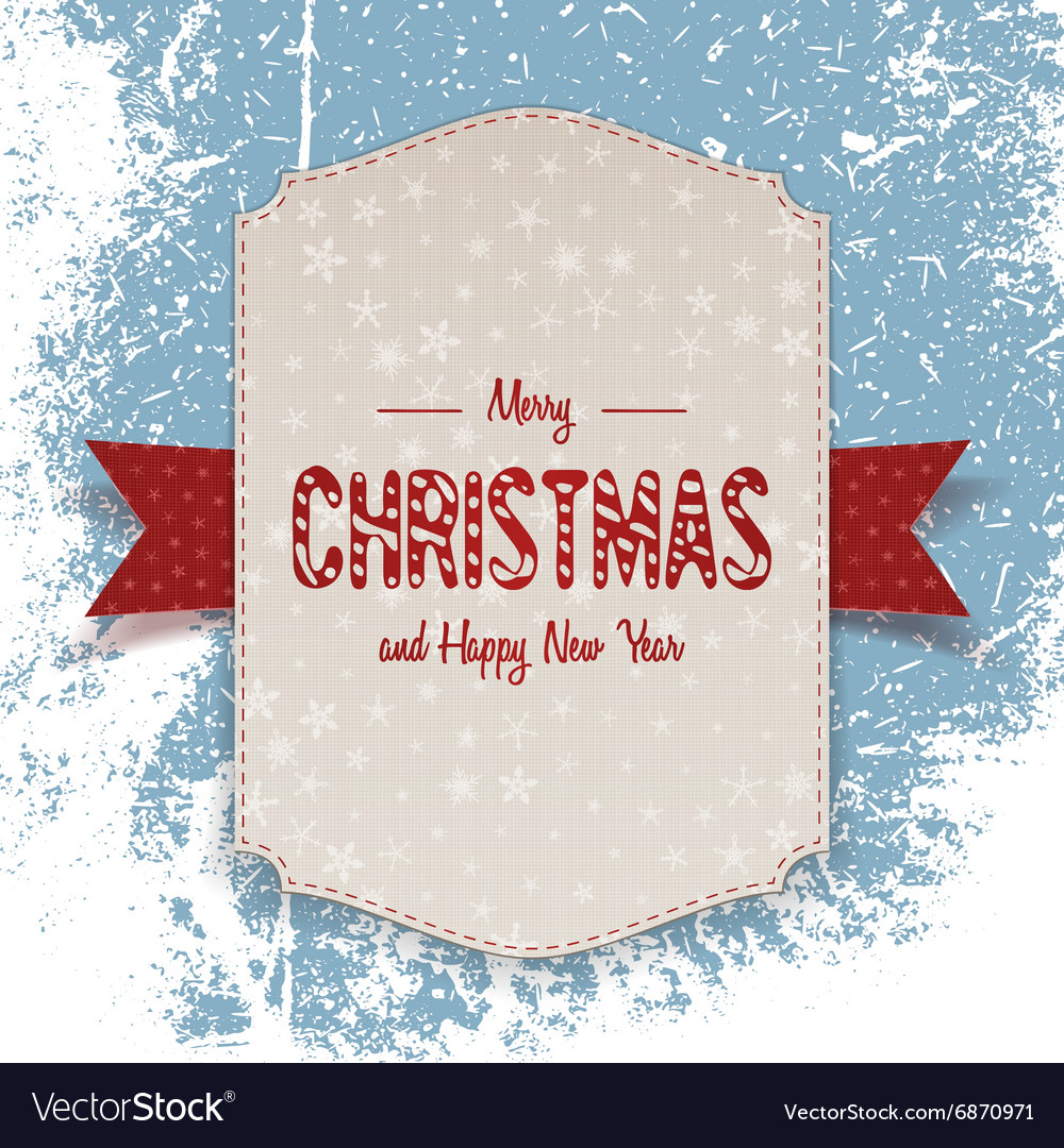 Christmas realistic big Banner with red Ribbon